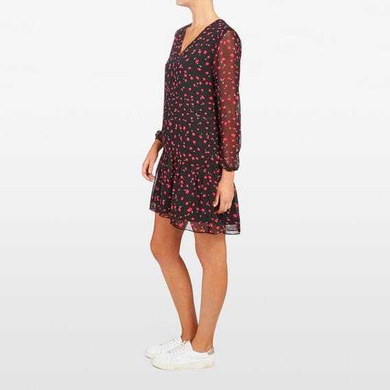 POPPY PRINTED DRESS  BLACK/RED  hi-res