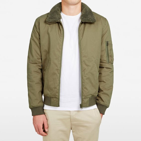 SHEARLING COLLAR BOMBER JACKET  OLIVE  hi-res
