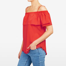 DOUBLE LAYER COLD SHOULDER TEE  RED  hi-res