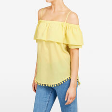 DOUBLE LAYER COLD SHOULDER TEE  YELLOW  hi-res