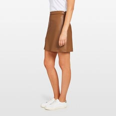 LEATHER LOOK SKIRT  TAN  hi-res