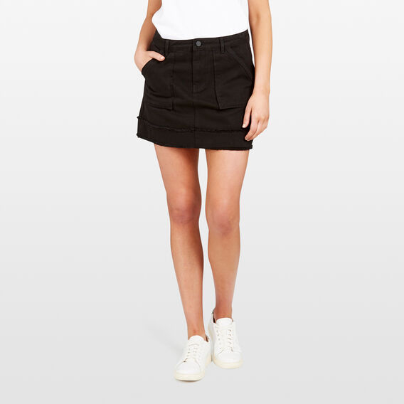 RAW EDGE DENIM SKIRT  BLACK  hi-res