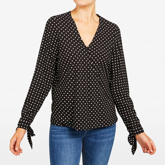 SPOT PRINTED WRAP BLOUSE  SUMMER WHITE/BLACK  hi-res
