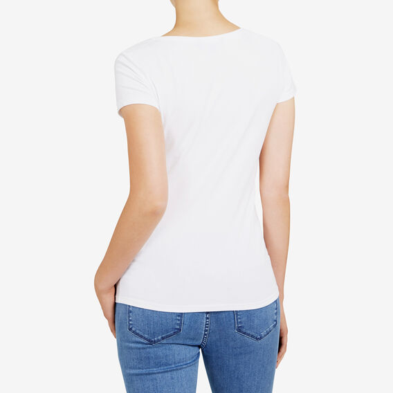 HAYLEY STRETCH V NECK TEE  WHITE  hi-res