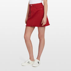 RED DENIM MINI SKIRT  RED  hi-res