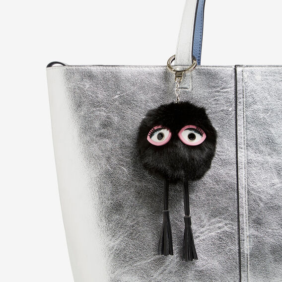MINI MONSTER POM KEYRING  BLACK  hi-res