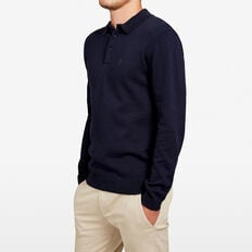 KNITTED LONG SLEEVE POLO  MARINE BLUE  hi-res