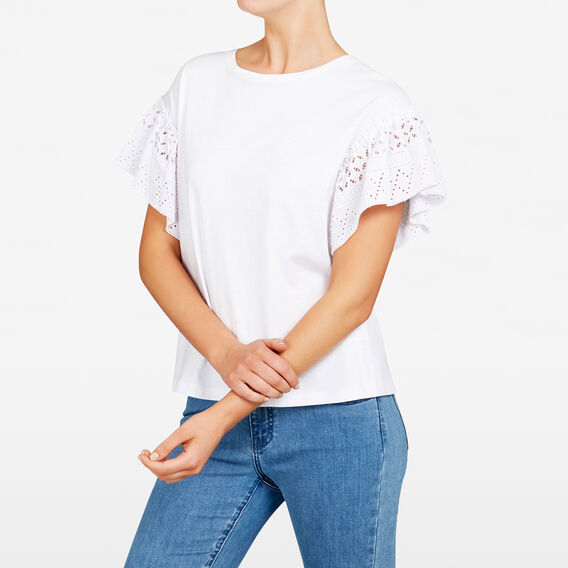 LACE SLEEVE TEE  SUMMER WHITE  hi-res
