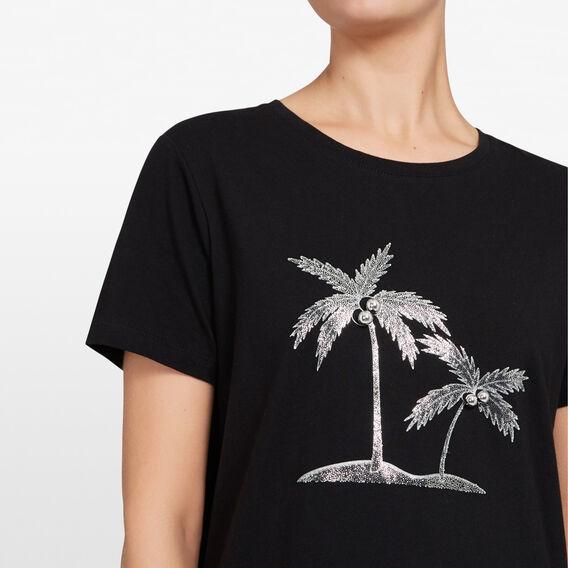 EMBELLISHED PALM TREE TEE  BLACK/MULTI  hi-res
