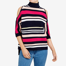 MOZART COLD SHOULDER STRIPE KNIT  NAVY MULTI  hi-res