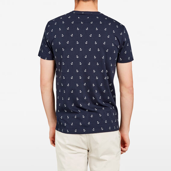 ANCHOR PRINT CREW NECK T-SHIRT  MARINE BLUE  hi-res