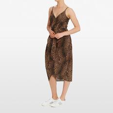 OCELOT PRINTED WRAP DRESS  MULTI  hi-res
