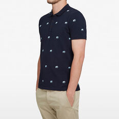 ELEPHANT EMBROIDERED POLO  MARINE BLUE  hi-res