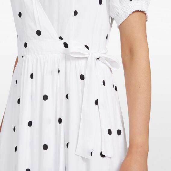 LARGE SPOT WRAP DRESS  SUMMER WHITE/BLACK  hi-res
