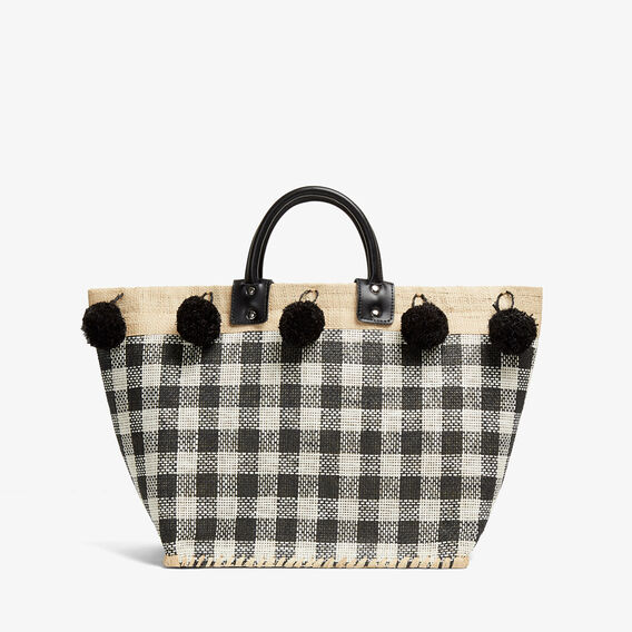 CHECK POM POM TOTE  BLACK/WHITE  hi-res