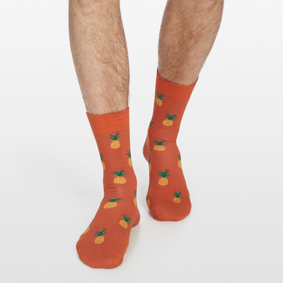 MULTI PINEAPPLE 1PK SOCKS  ORANGE  hi-res