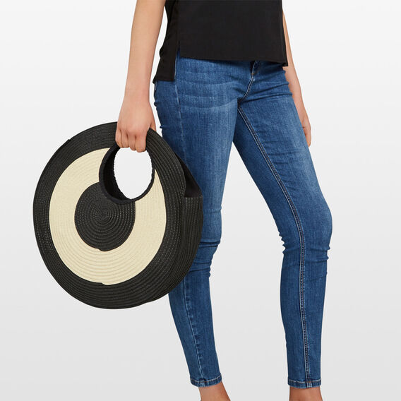 CIRCLE STRAW BAG  BLACK/NATURAL  hi-res