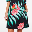 OFF SHOULDER PRINTED DRESS  BLACK MULTI  hi-res