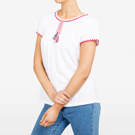 CROCHET TRIM TEE  WHITE/MULTI  hi-res