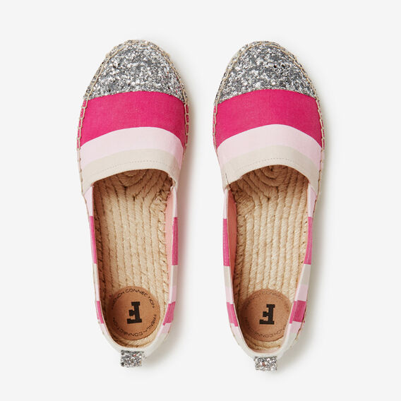 STRIPE AND GLITTER ESPADRILLE  PINK MULTI  hi-res