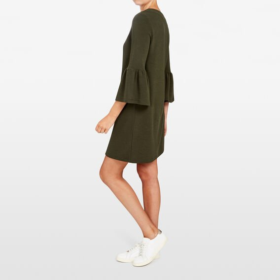 BELL SLEEVE RIB DRESS  KHAKI  hi-res