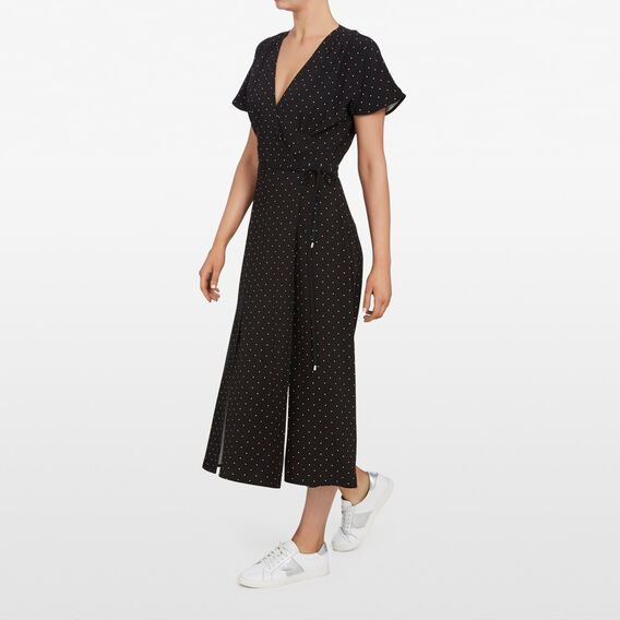 MICRO SPOT MAXI WRAP DRESS  BLACK/SUMMER WHITE  hi-res