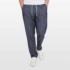 LINEN ELASTICATED PANT  CHARCOAL  hi-res