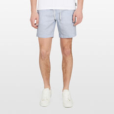 LINEN ELASTICATED SHORT  SKY BLUE  hi-res
