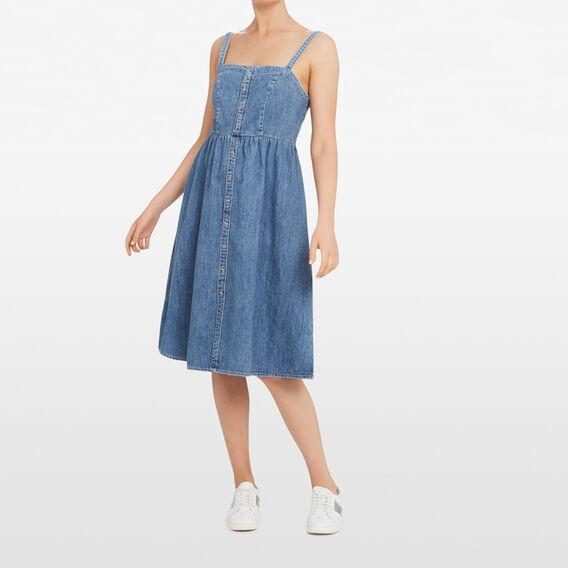 DENIM BUSTIER DRESS  STONE WASH  hi-res