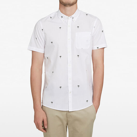 PALM PRINTED CLASSIC FIT SHIRT  WHITE  hi-res