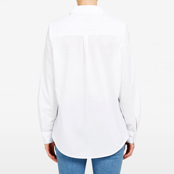LACE PANEL SHIRT  SUMMER WHITE  hi-res