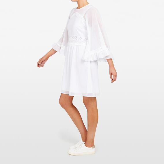 BABYDOLL FRILL SLEEVE DRESS  SUMMER WHITE  hi-res