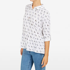 POODLE PRINTED PEPLUM SHIRT  SUMMER WHITE MULTI  hi-res