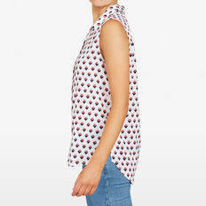 STRAWBERRY PRINTED SLEEVELESS SHIRT  SUMMER WHITE MULTI  hi-res