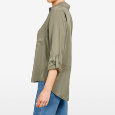 ESSENTIAL BUTTON THROUGH SHIRT  KHAKI  hi-res