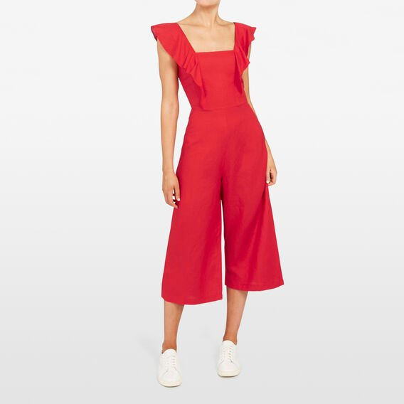 FRILL SLEEVE JUMPSUIT  STRAWBERRY  hi-res