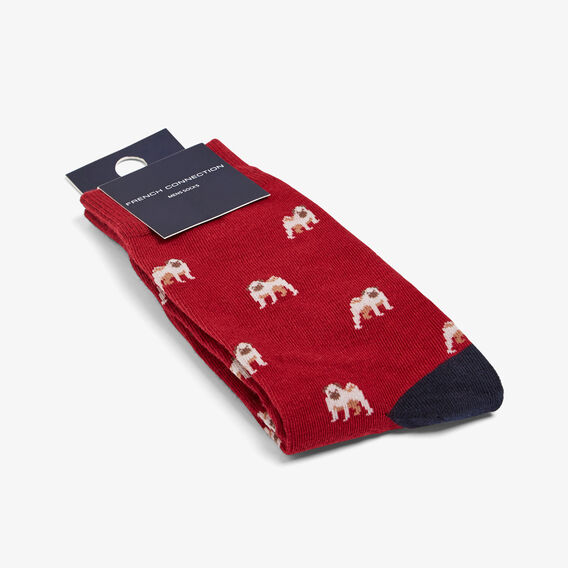 PUG 1 PK SOCK  RED  hi-res