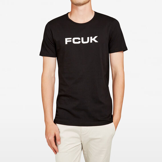 FCUK BOLD SLOGAN T-SHIRT  BLACK/WHITE  hi-res