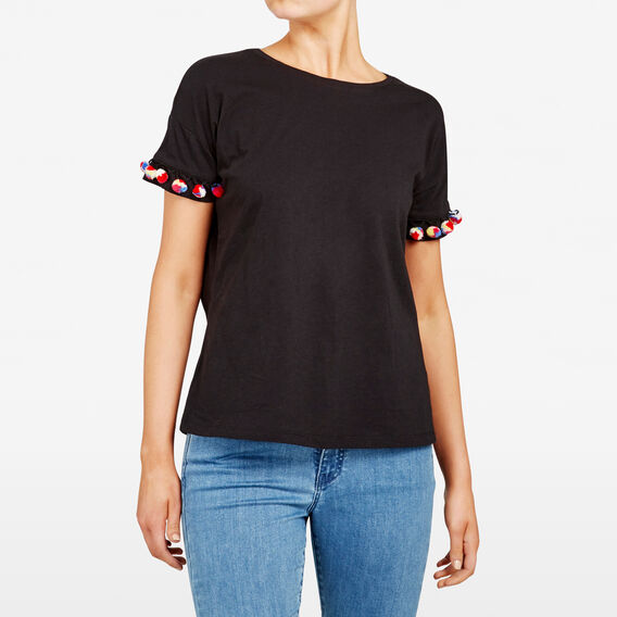 MULTI POM POM TEE  BLACK MULTI  hi-res