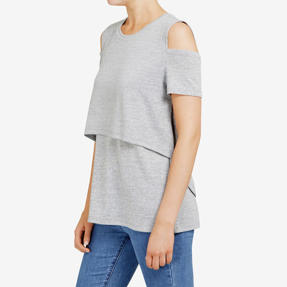 COLD SHOULDER LAYERED TANK  GREY MARLE  hi-res