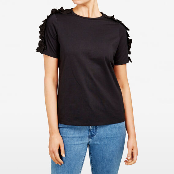 RUFFLE SHOULDER TEE  BLACK  hi-res
