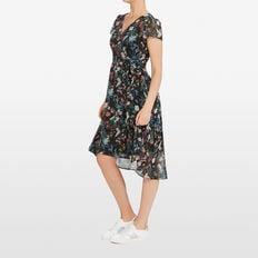 EXOTIC BLOOM WRAP DRESS  BLACK/MULTI  hi-res