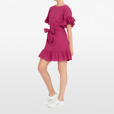 MAGENTA LINEN MINI DRESS  MAGENTA  hi-res