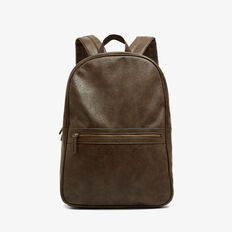 LEATHER LOOK BACKPACK  CHOCOLATE  hi-res