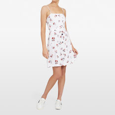 MICRO FLORAL TIE BACK DRESS  SUMMER WHITE/RED  hi-res