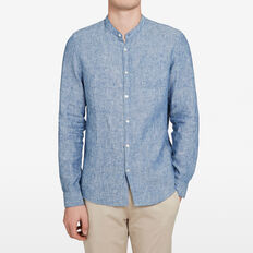 GRANDPA COLLAR LINEN CLASSIC FIT SHIRT  CHAMBRAY  hi-res