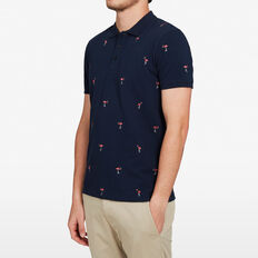 FLAMINGO EMBROIDERED POLO  MARINE BLUE  hi-res