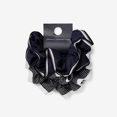 HAIR SCRUNCHIE SET  BLACK/WHITE  hi-res