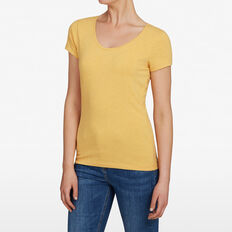 HAYLEY STRETCH SCOOP NECK TEE  SAND YELLOW MARLE  hi-res