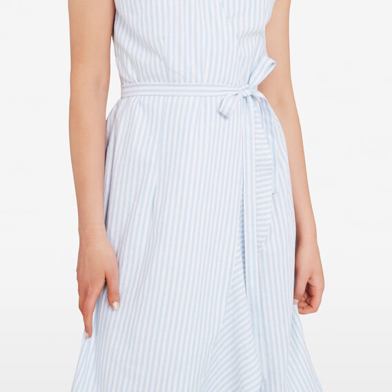 STRIPE WRAP DRESS  SEA BLUE/SUMMER WHIT  hi-res
